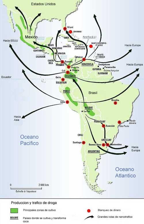 'Narcotráfico entre México y Colombia'