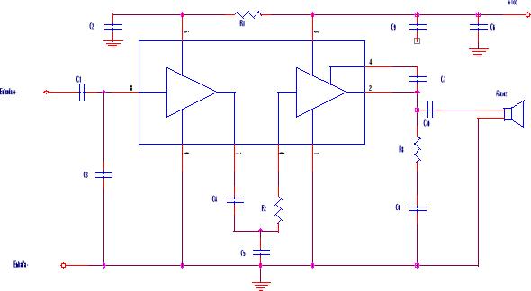 Amplificador con circuito integrado