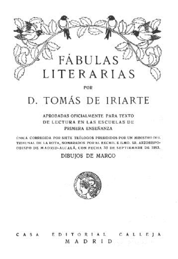 Fábulas literarias; Tomás de Iriarte